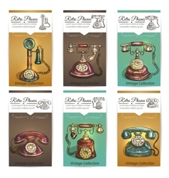 Old retro phones banners or cards vector