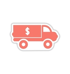 Paper sticker on white background car money vector