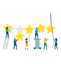 people are holding stars over the heads feedback vector image