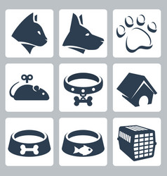 pet icons set cat dog pawprint mouse collar vector image