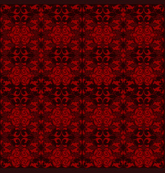 red damask tapestry with floral patterns vector image
