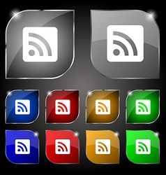 RSS feed icon sign Set of ten colorful buttons vector