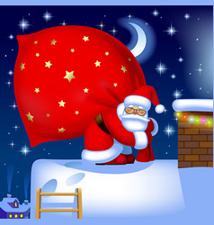 santa claus with a sack on the roof vector image