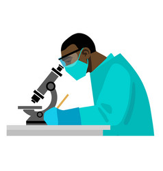 scientist looking through microscope in medical vector image