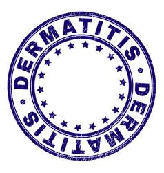 Scratched textured dermatitis round stamp seal vector