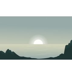 Seaside at sunset landscape silhouettes vector image