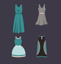 set of female dresses on a dark background vector image