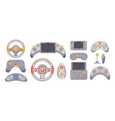 set of videogame joysticks consoles gamepads vector image