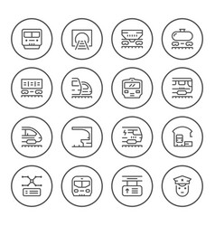 set round line icons railroad vector image