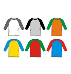 Set t-shirt raglan vector