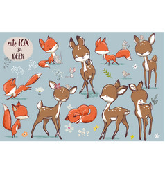 set with cute fox and deer vector image