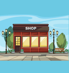 Shop store with windows greenery lanterns vector