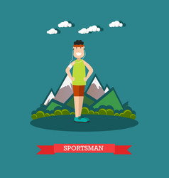 sportsman in flat style vector image