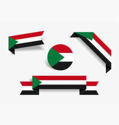 Sudanese flag stickers and labels vector