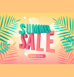 Summer sale promotion banner in trendy style vector