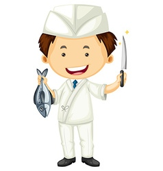 Sushi chef with sharp knife and fish vector