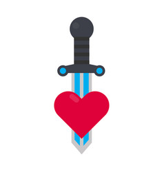 Tattoo decorative element with heart and sword vector
