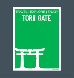 Torii gate itsukushima japan monument landmark vector