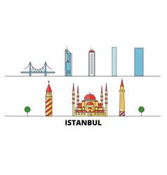 Turkey istanbul flat landmarks vector