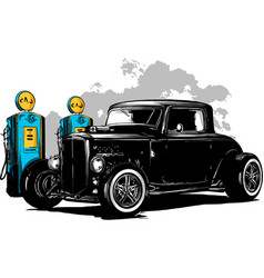 vintage car hot rod garage hotrods carold vector image