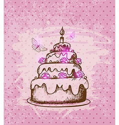 Vintage hand drawn cake vector
