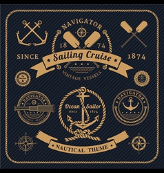 Vintage nautical labels set on dark bcakground vector