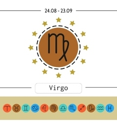 Virgo Signs of zodiac flat linear icons for vector