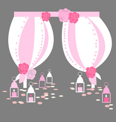 Wedding arch with flowers and lanterns on grey vector