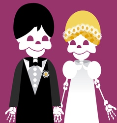 Wedding between skeletons vector
