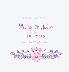 Wedding invitation watercolor Beautiful floral vector