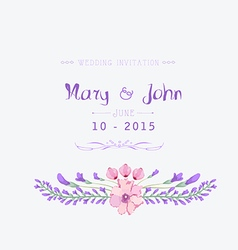 Wedding invitation watercolor Beautiful floral vector image
