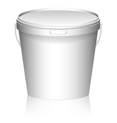 white plastic set bucket with white lid product vector image