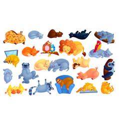 Wild and domestic animals cartoon stickers set vector