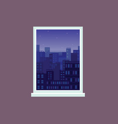 window view to night city under starry sky vector image