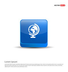 world globe icon - 3d blue button vector image