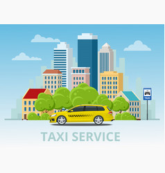 yellow taxi cab on city vector image