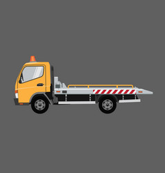yellow tow truck flat with solid color vector image
