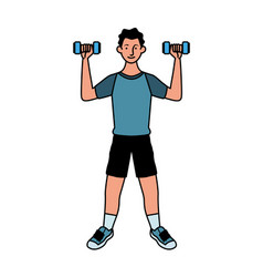 Young man athlete lifting dumbbells vector