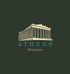 banner with parthenon from athens greek landmark vector image vector image