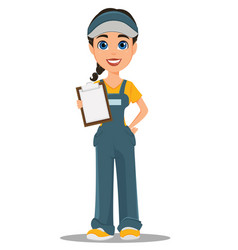Courier woman holding blank clipboard vector