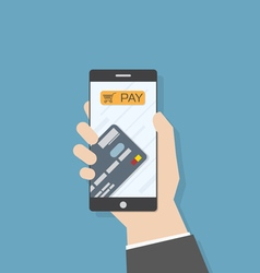 Hand smartphone pay credit card vector image vector image