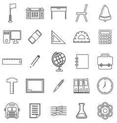 School line icons on white background vector image vector image