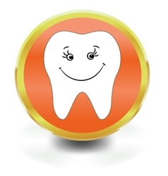 White Tooth Icon vector image vector image
