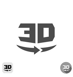 3D rotation panorama sign 360 degree view icon vector image