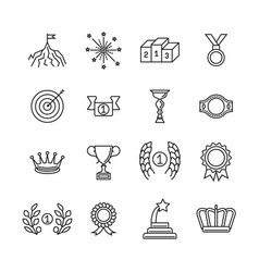awards line icons success and winning vector image vector image