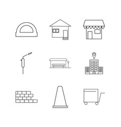 buildings construction and industry linear icon vector image vector image