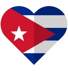 Cuba flat heart flag vector image vector image