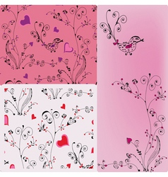 floral heart patterns vector image