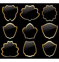 gold and black heraldic frames - set vector image