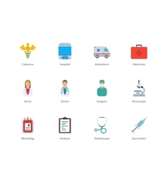 Hospital and Medicine color icons on white vector image vector image